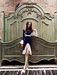 preiswerte -Damen A-Linie Hülle Trompete/Meerjungfrau Kleid-Party Sexy Einfarbig Bateau Knielang Asymmetrisch Langärmelige Baumwolle Leinen Frühling