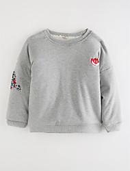 baratos -Para Meninas Camiseta Desenho Animado Outono Algodão Desenho Vermelho Rosa Cinzento