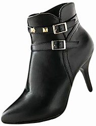 Women's Shoes PU Winter Comfort Boots High Heel Pointed Toe For Casual Wine Black
