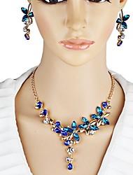 abordables -Mujer Cristal Conjunto de joyas - Cristal Flor Elegante Incluir Azul Oscuro Para Fiesta / Escenario / Pendientes / Collare