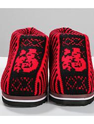 Femme Chaussures Laine Printemps Automne Confort Chaussons & Tongs Pour Décontracté Fuchsia Marron Rouge