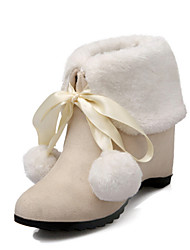 cheap -Women's Shoes Suede Winter Fall Comfort Novelty Snow Boots Boots Walking Shoes Wedge Heel Pointed Toe Booties/Ankle Boots Feather For