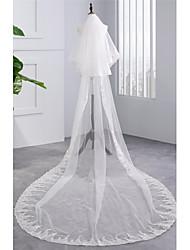 Véu de casamento dos vestidos de capela de dois níveis acessórios de casamento de tul de borda