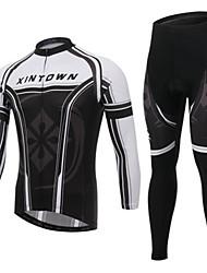 Maglia con pantaloni da ciclismo Per uomo Manica lunga Bicicletta Set di vestiti Asciugatura rapida Antivento Sport invernali