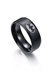 cheap -Men's Stainless Steel Band Ring - One-piece Suit Circle Metallic Black Ring For Graduation / Daily