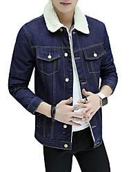 cheap -Men's Daily Plus Size Simple Casual Boho Street chic Punk & Gothic Winter Fall Denim Jackets,Solid Print Shirt Collar Long Sleeves Regular