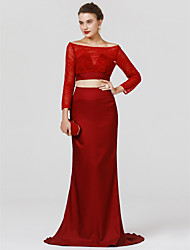 cheap -Mermaid / Trumpet Two Piece Bateau Neck Sweep / Brush Train Lace Jersey Cocktail Party / Formal Evening / Black Tie Gala / Holiday Dress