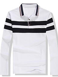 Men's Daily Wear Vintage T-shirt,Solid Striped Button Down Collar Long Sleeves Cotton