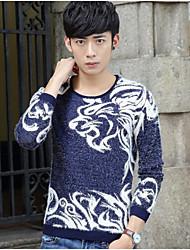 cheap -Men's Daily Wear Casual Regular Pullover,Lolita Round Neck Long Sleeves Cotton Spring/Fall Medium Micro-elastic