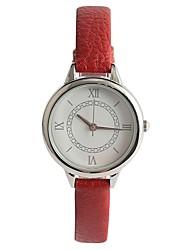 baratos -Mulheres Quartzo Relógio de Pulso Japanês Relógio Casual PU Banda Casual Vermelho