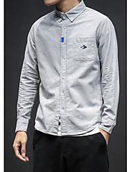 メンズ お出かけ カジュアル/普段着 シャツ,ストリートファッション シャツカラー ソリッド プリント ポリエステル 長袖