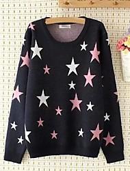 Недорогие -Для женщин На выход На каждый день Обычный Пуловер Однотонный Контрастных цветов,Круглый вырез Длинный рукав Хлопок Другое Тонкая Средняя