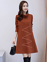 cheap -Women's Daily Casual Loose Dress,Solid Turtleneck Knee-length Long Sleeve Cotton Fall Mid Rise Micro-elastic Thick