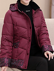 Women's Padded Coat,Casual Daily To-Go Solid-Acrylic Polyester Long Sleeves