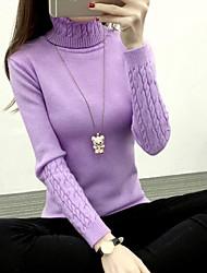 Corto Pullover Da donna-Per uscire Casual Tinta unita Dolcevita Manica lunga Acrilico Inverno Autunno Spesso Elevata elasticità