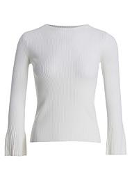 preiswerte -Damen Standard Pullover-Lässig/Alltäglich Einfach Solide Gestreift Rundhalsausschnitt Langarm Acryl Herbst Winter Dünn Mikro-elastisch