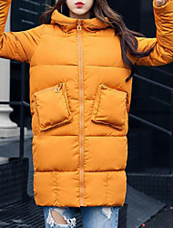 Women's Long Padded Coat,Casual Daily Going out Solid-Polyester Long Sleeves