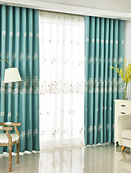 Rod Pocket Grommet Top Tab Top Double Pleat Pencil Pleat Curtain Country , Floral Bedroom Polyester Blend Material Blackout Curtains