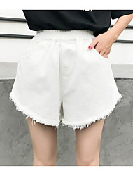 cheap -Women's Micro-elastic Jeans Shorts Pants Jeans Shorts Solid