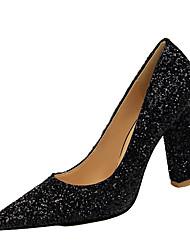 preiswerte -Damen Schuhe Kunstleder Frühling Herbst Komfort High Heels Für Normal Schwarz Silber Rot Blau Champagner