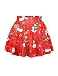 サンタスーツ スカート 女性用 クリスマス イベント/ホリデー ハロウィーンコスチューム レッド プリント