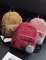 cheap -Women's Bags Velvet Backpack Feathers / Fur Red / Blushing Pink / Yellow