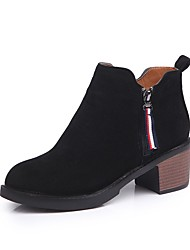 Women's Shoes Nubuck leather Winter Comfort Boots Chunky Heel Round Toe For Casual Brown Black