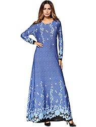 Women's Daily Tunic Dress,Solid Floral Round Neck Maxi Long Sleeve Cotton All Season Mid Rise Micro-elastic Opaque