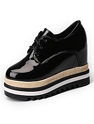 cheap -Women's Shoes Patent Leather Winter Comfort Oxfords Round Toe For Casual Black