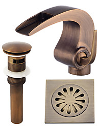 cheap -Centerset Waterfall Ceramic Valve Single Handle One Hole Antique Copper , Bathroom Sink Faucet