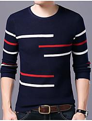 メンズ カジュアル/普段着 Tシャツ,ストリートファッション ラウンドネック カラーブロック コットン 長袖