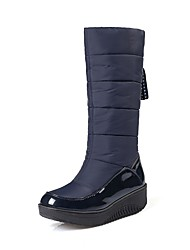 cheap -Women's Shoes Leatherette Winter Snow Boots Boots Platform Round Toe Mid-Calf Boots for Black Brown Navy Blue
