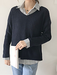 Women's Daily Wear Going out Regular Pullover,Solid Bateau Long Sleeves Acrylic Spring/Fall Medium strenchy