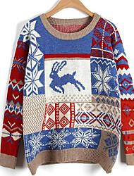 Недорогие -Жен. Длинный рукав Пуловер С принтом