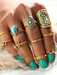 cheap -Men's Women's Rings Set Nail Finger Rings Turquoise Vintage Bohemian Statement Jewelry Alloy Geometric Drop Jewelry For Wedding Party