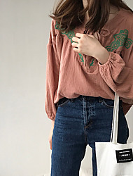cheap -Women's Daily Cute Shirt,Embroidery V Neck Long Sleeves Polyester