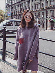 cheap -Women's Daily Going out Loose Dress,Solid V Neck Knee-length Long Sleeves Linen Mid Rise Micro-elastic Medium