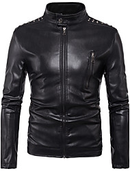 cheap -Men's Punk & Gothic Plus Size Leather Jacket - Solid, Rivet Stand