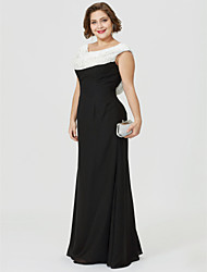 cheap -Sheath / Column Cowl Neck Floor Length Chiffon Mother of the Bride Dress with Beading Ruched by LAN TING BRIDE®