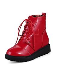 レディース 靴 PUレザー 冬 秋 コンフォートシューズ ブーツ フラットヒール ラウンドトウ 用途 ホワイト ブラック レッド