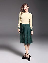 Dámské Jednobarevné Běžné/Denní Práce Jednoduchý Svetr Sukně Obleky Polyester Nylon Spandex Mercerovaná bavlna Dlouhý rukáv
