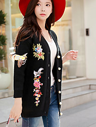 cheap -Women's Daily Going out Vintage Street chic Knitting Embroidered Vintage V Neck Sweater Cardigan, Long Sleeves Winter Fall