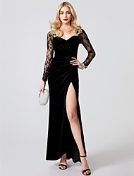 cheap -Mermaid / Trumpet V Neck Ankle Length Sheer Lace Jersey Cocktail Party / Formal Evening / Black Tie Gala / Holiday Dress with Appliques