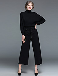 cheap -EWUS Women's Daily Going out Street chic Winter Fall Sweater Pant Suits,Solid High Neck Long Sleeves Knitting 100% Polyester >75%