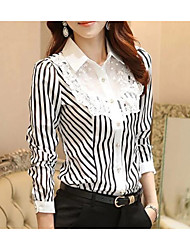 cheap -Women's Daily Vintage Autumn Shirt,Striped Shirt Collar Long Sleeves Cotton Opaque