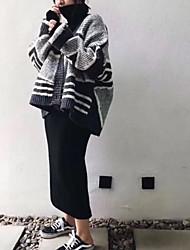 Для женщин Повседневные Обычный Пуловер Контрастных цветов,Воротник Питер Пен Длинный рукав Акрил Средняя Слабоэластичная