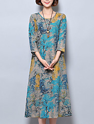 cheap -Women's Daily Loose Dress,Print Round Neck Midi 3/4 Length Sleeves Polyester Summer Mid Rise Inelastic Thin