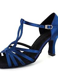 abordables -Femme Chaussures Latines Satin Sandale / Talon Professionnel Talon Personnalisé Personnalisables Chaussures de danse Bleu