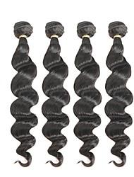 baratos -4 pacotes Cabelo Brasileiro Ondulação Larga Cabelo Remy Cabelo Humano Ondulado Tramas de cabelo humano Extensões de cabelo humano