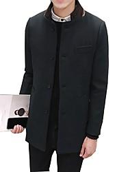 baratos -Masculino Casaco Casual Temática Asiática Inverno,Sólido Xadrez Padrão Algodão Poliéster Manga Longa